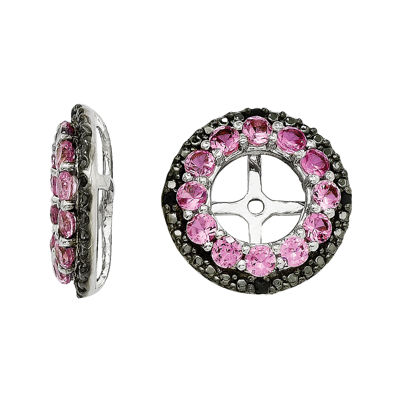 Lab-Created Pink & Black Sapphire Sterling Silver Earring Jackets