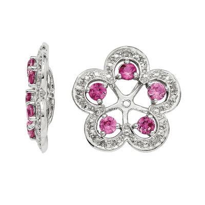 Lab-Created Pink Sapphire & Diamond Accent Sterling Silver Earring Jackets