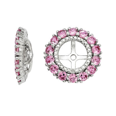 Lab-Created Pink Sapphire and Diamond Accent Sterling Silver Earring Jackets