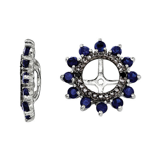Lab-Created Sapphire and Black Sapphire Sterling Silver Earrings Jackets