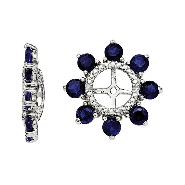Lab-Created Sapphire and Diamond Accent Earring Jackets