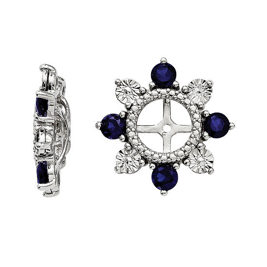 Lab-Created Sapphire Sterling Silver Earring Jackets