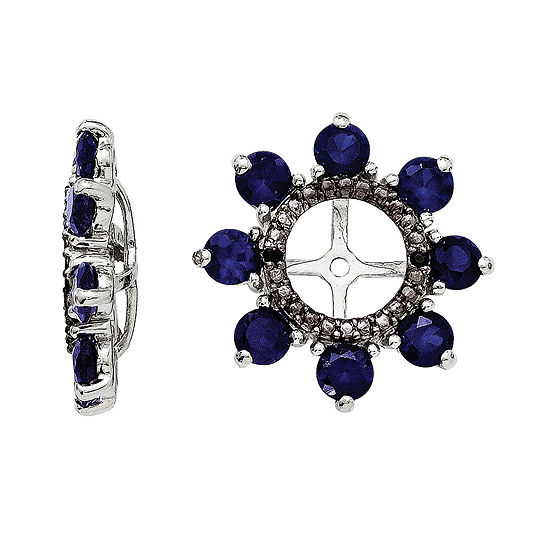 Lab-Created Blue Sapphire and Genuine Black Sapphire Earring Jackets