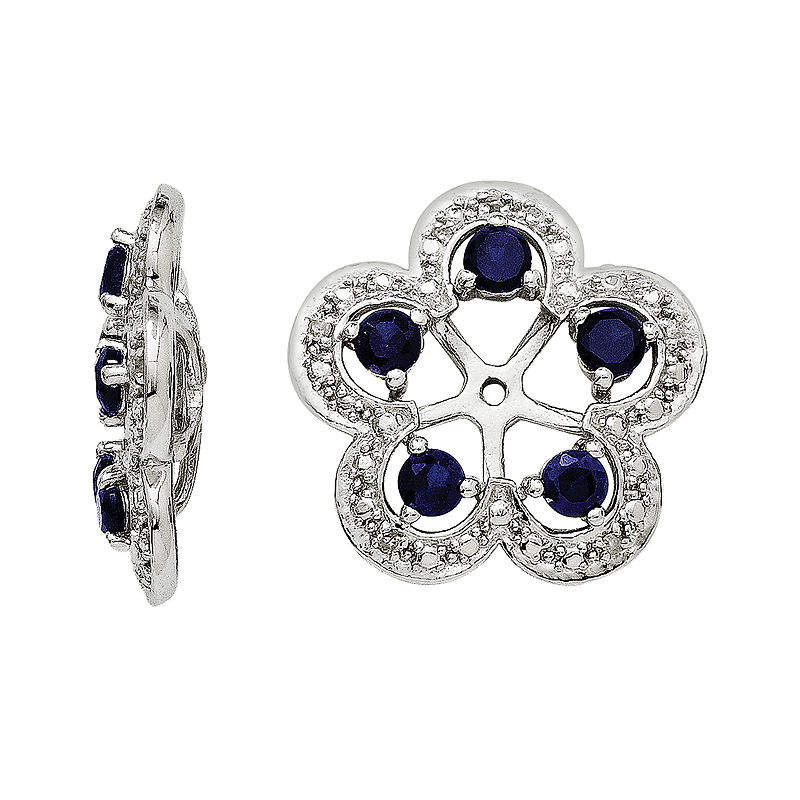 Lab-Created Blue Sapphire & Diamond Accent Sterling Silver Earring Jackets