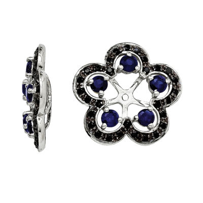 Lab-Created Blue & Black Sapphire Sterling Silver Earring Jackets