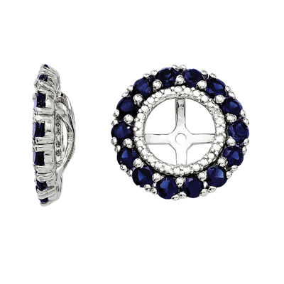 Lab-Created Sapphire and Diamond Accents Sterling Silver Earring Jackets
