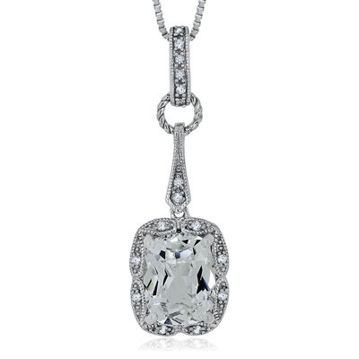 Lab-Created White Sapphire and Diamond Accent Sterling Silver Pendant Necklace
