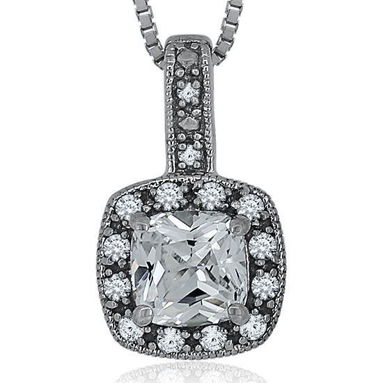 Diamond Accent & Lab-Created White Sapphire Sterling Silver Pendant Necklace