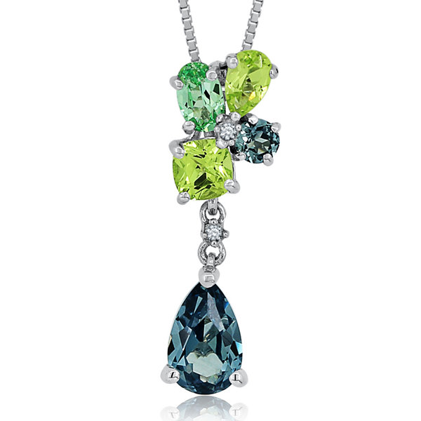 Lab-Created Green & White Sapphire and Corundum Sterling Silver Pendant Necklace