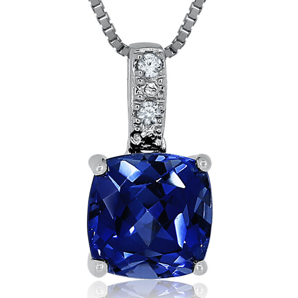 Lab-Created Blue & White Sapphire Sterling Silver Pendant Necklace