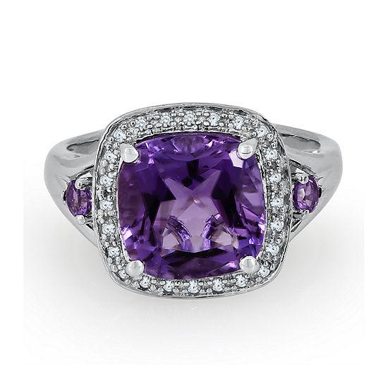 Genuine Amethyst and 1/8 C.T. TW. Diamond Ring