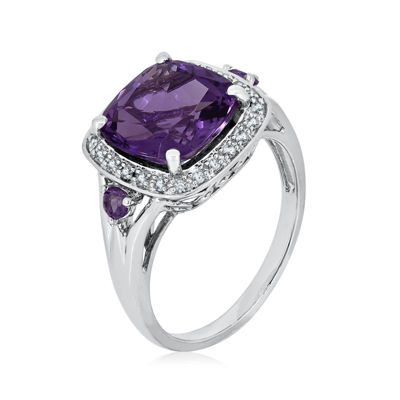 Genuine Amethyst and 1/8 C.T. TW. Diamond Ring