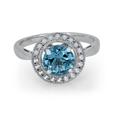 Blue Topaz & Lab-Created White Sapphire Sterling Silver Ring