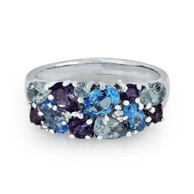 Aquamarine, Iolite, Topaz and Diamond Accent Ring