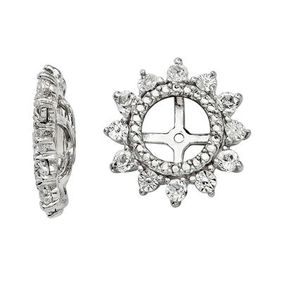 Simulated White Topaz Sterling Silver Earring Jackets