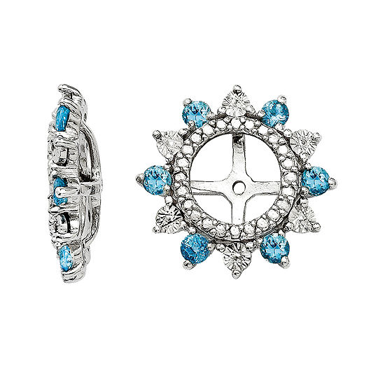 Simulated Swiss Blue Topaz Sterling Silver Earring Jackets