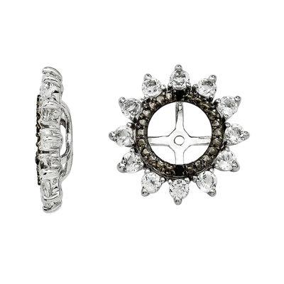 Genuine White Topaz & Black Sapphire Sterling Silver Earring Jackets
