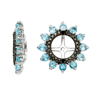 Genuine Swiss Blue Topaz & Black Sapphire Sterling Silver Earring Jackets