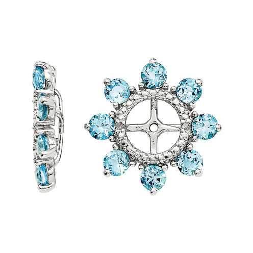 Genuine Swiss Blue Topaz and Diamond Accent Sterling Silver Earring Jackets