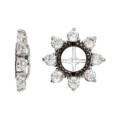 Genuine White Topaz & Black Sapphire Sterling Silver Earring Jackets