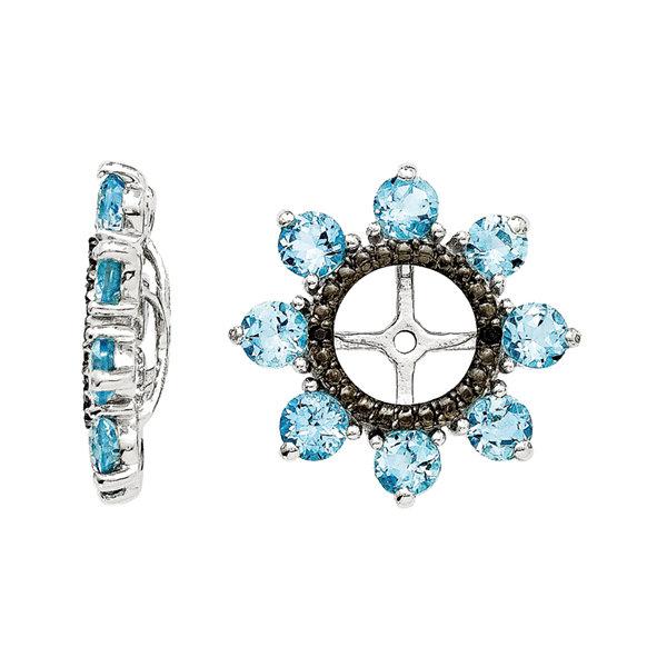 Fine Jewelry Genuine Swiss Blue Topaz & Black Sapphire Sterling Silver Earring Jackets 27olc