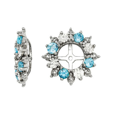 Genuine Swiss Blue Topaz Sterling Silver Earring Jackets