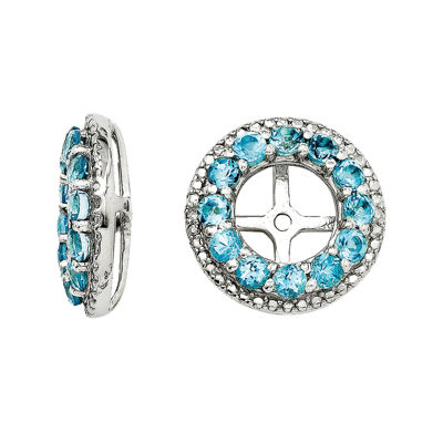 Genuine Swiss Blue Topaz and Diamond Accent Earring Jackets