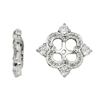 Diamond Accent & Genuine White Topaz Sterling Silver Earring Jackets