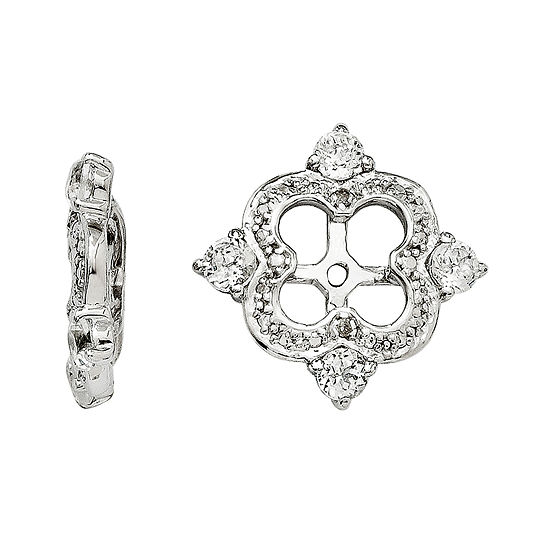 Diamond Accent Genuine White Topaz Sterling Silver Earring Jackets