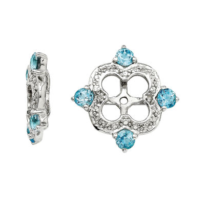 Simulated Swiss Blue Topaz & Diamond Accent Earring Jackets