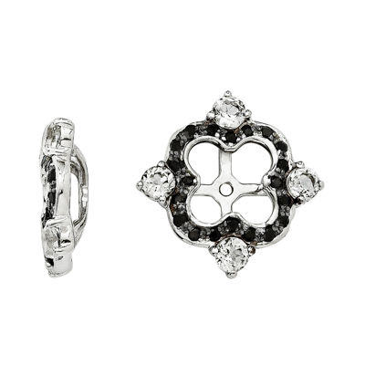 Genuine Black Sapphire and White Topaz Sterling Silver Earring Jackets