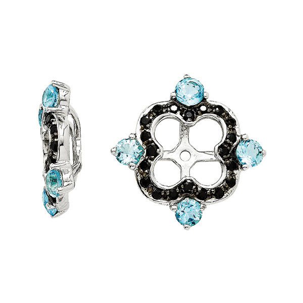 Genuine Black Sapphire and Swiss Blue Topaz Sterling Silver Earring Jackets