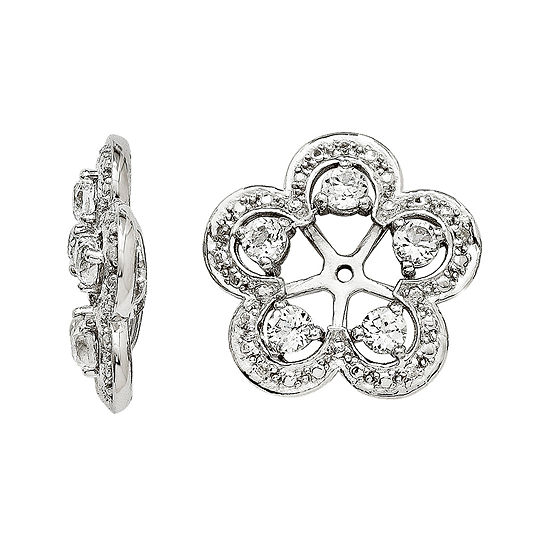 Simulated White Topaz & Diamond Accent Sterling Silver Earring Jackets