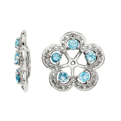 Simulated Swiss Blue Topaz & Diamond Accent Sterling Silver Earring Jackets