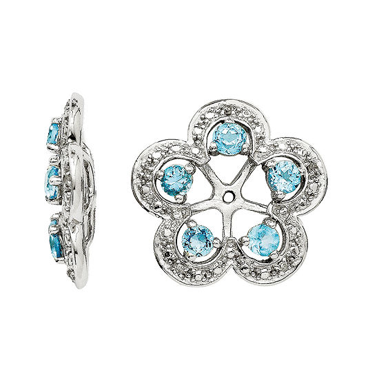 Simulated Swiss Blue Topaz Diamond Accent Sterling Silver Earring Jackets