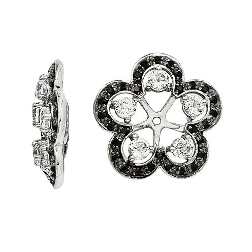 Genuine White Topaz and Black Sapphire Sterling Silver Earring Jackets