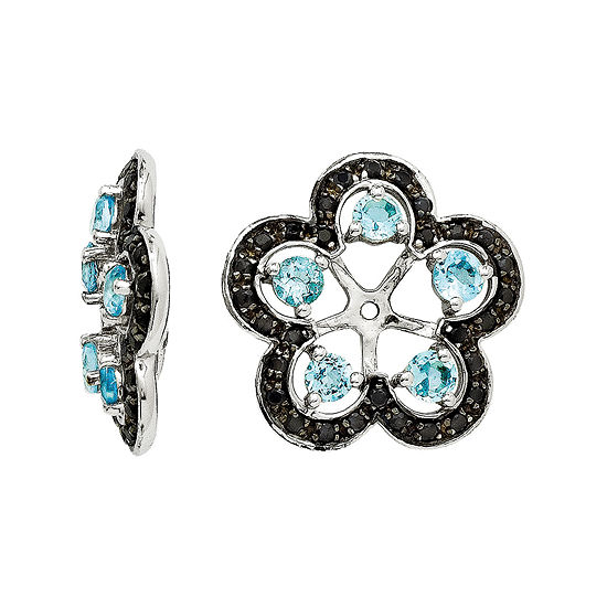 Heat-Treated Swiss Blue Topaz and Genuine Black Sapphire Earring Jackets