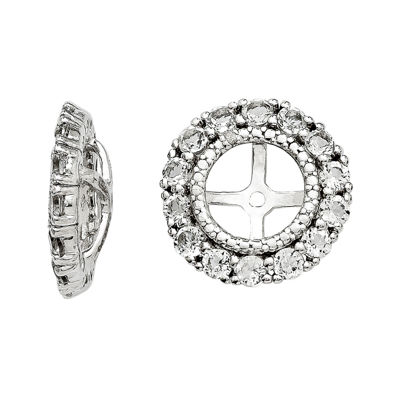 Diamond Accent and Genuine White Topaz Sterling Silver Earring Jackets
