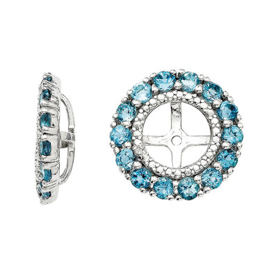 Diamond Accent and Irradiated Swiss Blue Topaz Sterling Silver Earring Jackets