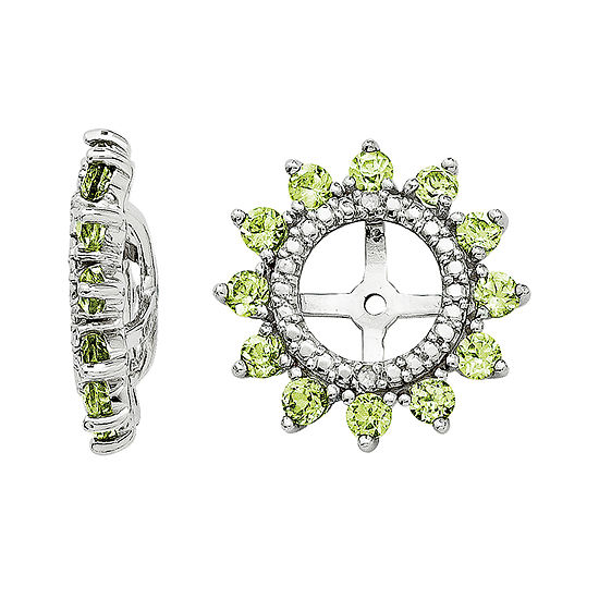 Diamond Accent Genuine Peridot Sterling Silver Earring Jackets