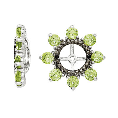 Genuine Peridot & Black Sapphire Sterling Silver Earring Jackets