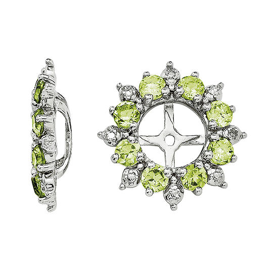 Genuine Peridot And Diamond Accent Earring Jackets