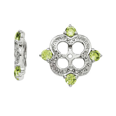 Diamond Accent & Genuine Peridot Sterling Silver Earring Jackets