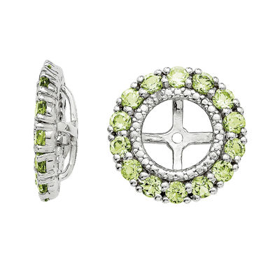 Diamond Accent and Genuine Peridot Sterling Silver Earring Jackets