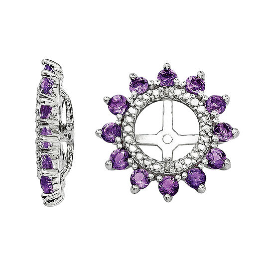 Diamond Accent Genuine Amethyst Sterling Silver Earring Jackets