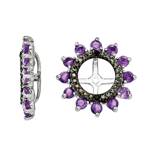 Genuine Amethyst & Black Sapphire Sterling Silver Earring Jackets