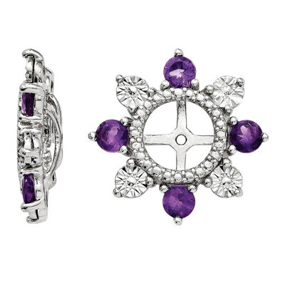 Genuine Amethyst Sterling Silver Earring Jackets