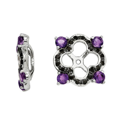 Genuine Black Sapphire and Amethyst Sterling Silver Earring Jackets