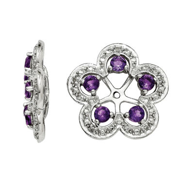 Sterling Silver Diamond Accent & Amethyst Earrings Jacket 6