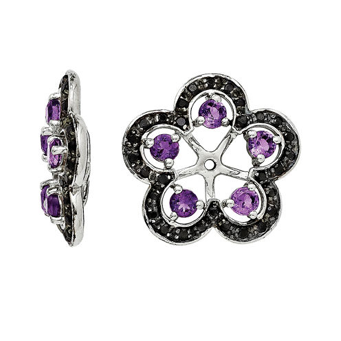 Heat-Treated Amethyst and Genuine Black Sapphire Earring Jackets